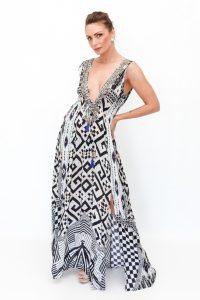 Deep V Neck Dress with Pockets