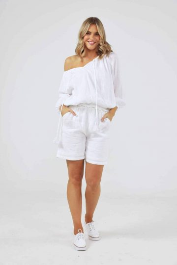 Seaside top white front